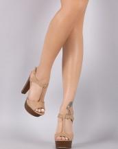 ahşap kalın topuklu bej tokalı sandalet sk8667
