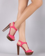 ahşap kalın topuklu pembe tokalı sandalet sk8667