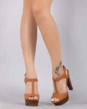 ahşap kalın topuklu taba tokalı sandalet sk8667