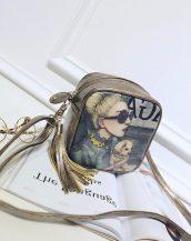 bronz deri retro baskılı omuz çantası sk10424