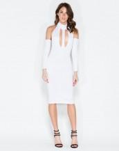 dekolteli beyaz şık gece kıyafeti sk8445