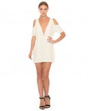 derin göğüs dekolteli beyaz mini gece elbisesi sk8781