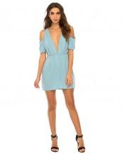 derin göğüs dekolteli buz mavisi mini gece elbisesi sk8781
