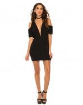 derin göğüs dekolteli siyah mini gece elbisesi sk8781