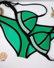 dikiş izi detaylı tarz yeşil siyah bikini sk9938
