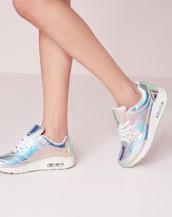 gümüş parlak spor ayakkabı sk8290