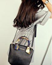 hakiki deri fularlı siyah kol çantası sk10288