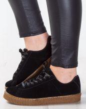 kahverengi tabanlı süet siyah sneaker sk9402