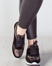kamuflaj siyah süet spor ayakkabı sk9443