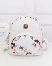 kelebek çiçek baskılı zımbalı beyaz sırt çantası sk10140
