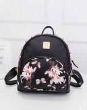 kelebek çiçek baskılı zımbalı siyah sırt çantası sk10140