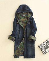 koyu mavi taşlanmiş kapşonlu kot ceket sk9700