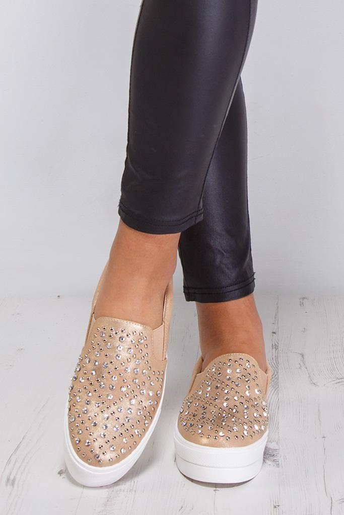 kristal taşlı altın platform sneaker ayakkabı sk9413