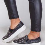 kristal taşlı siyah platform sneaker ayakkabı sk9413