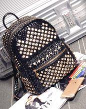 kristal taşlı zımbalı bayan siyah sırt çantası sk10280