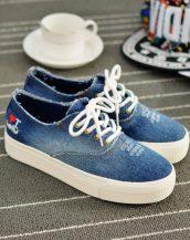 mavi eskitme kot bağcıklı sneaker ayakkabı sk10335