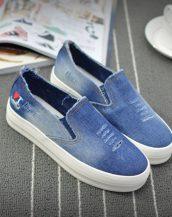mavi eskitme kot sneaker ayakkabı sk10335