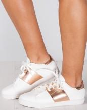 metalik şeritli beyaz rose gold spor ayakkabı sk9353