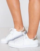 metalik beyaz rahat spor ayakkabı sk9153
