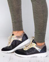 metalik pullu altın siyah spor ayakkabı sk9559