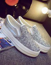payetli bayan gümüş sneaker ayakkabı sk10224