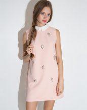 pudra rengi bebe yaka taşlı kolsuz elbise sk10038