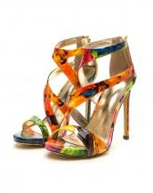 renkli şık tasarım rugan topuklu sandalet sk8337