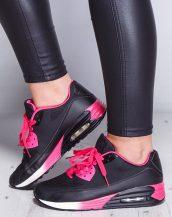 renkli desenli siyah air spor ayakkabı sk9666