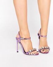 renkli taşlı tokalı lila rengi topuklu sandalet sk9048