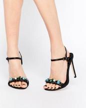renkli taşlı tokalı siyah topuklu sandalet sk9048
