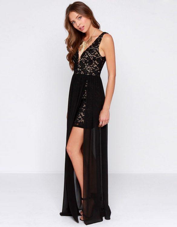 sırt dekolteli siyah şifon elbise sk10066