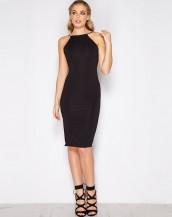sırt dekolteli siyah midi gece elbisesi sk9102