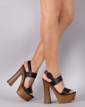 siyah deri ahşap platform topuklu sandalet sk8732