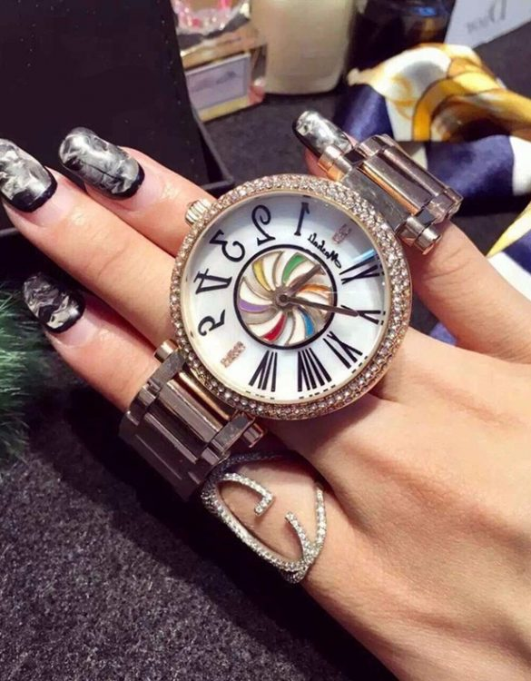 taş işlemeli rose gold bayan kol saati sk9968