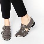tokalı cut out gri rugan oxford ayakkabı sk8882