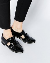 tokalı cut out siyah rugan oxford ayakkabı sk8882