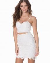 yüksek bel göğüs dekolteli dantel mini elbise sk8603