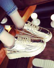 yüksek platform altın dore bayan spor ayakkabı sk10366