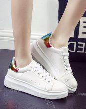 yüksek platform bayan renkli beyaz spor ayakkabı sk10240