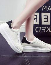 yüksek platform bayan siyah beyaz spor ayakkabı sk10240