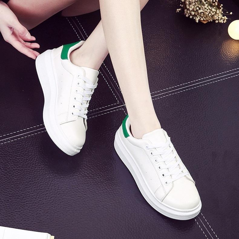 yüksek platform bayan yeşil beyaz spor ayakkabı sk10240