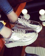yüksek platform gümüş bayan spor ayakkabı sk10366