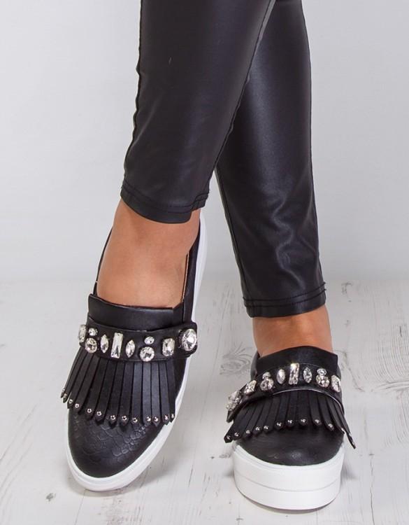 yüksek tabanlı taşlı siyah sneaker ayakkabı sk9233