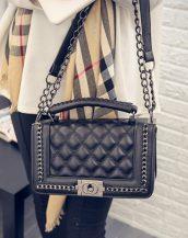 zincirli siyah deri omuz çantası sk10173