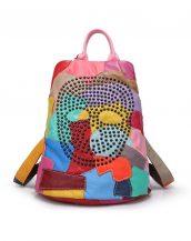 çok renkli yamalı zımbalı deri sırt çantası sk10934