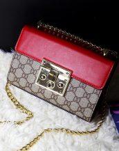 ünlü marka zincirli mini kırmızı omuz çantası sk10842