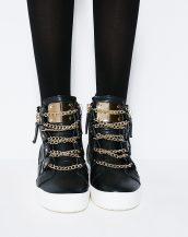 altın rengi fermuarlı zincirli siyah tarz sneaker sk10524
