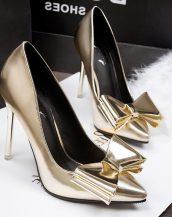 altın rengi papyonlu parlak gelin ayakkabısı sk11798