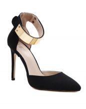 altın rengi tokalı siyah süet stiletto sk11682