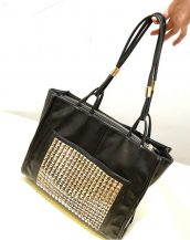 altın rengi zımbalı siyah kol çantası sk10717